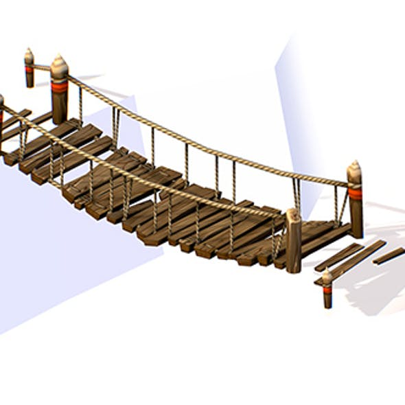 Handpaint Cartoon Wooden Structure Suspension Bridge