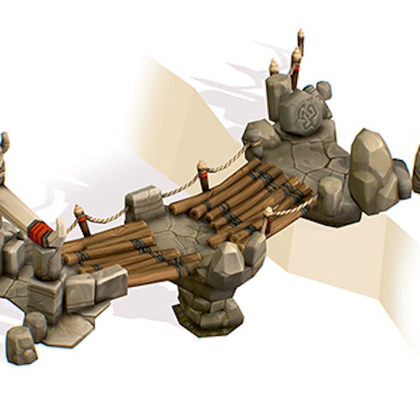 Handpaint Cartoon Stoned and Wooden Bridge Structure