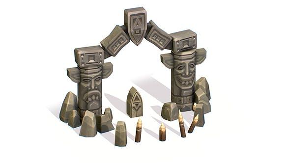 Handpaint Cartoon Stone Arch Entrance Cave 2 - 3DOcean Item for Sale