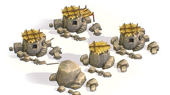 Handpaint Cartoon Stone Big Building House model - 3DOcean Item for Sale
