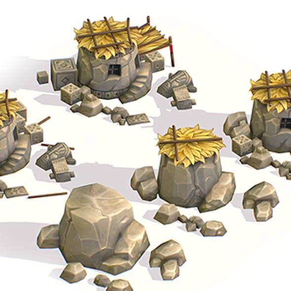 Handpaint Cartoon Stone Big Building House model