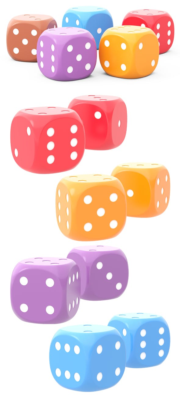 5 HD dice for board game of different colors 3D - 3DOcean Item for Sale