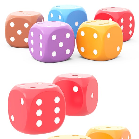 5 HD dice for board game of different colors 3D