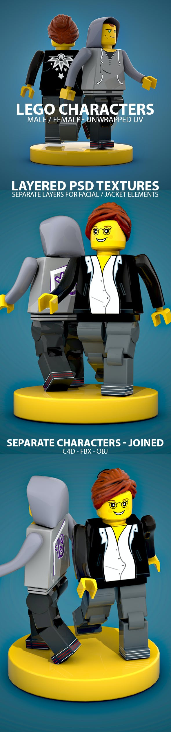 Male & Female LEGO Characters - 3DOcean Item for Sale