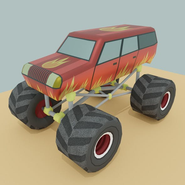 Low Poly Cartoon Monster Truck