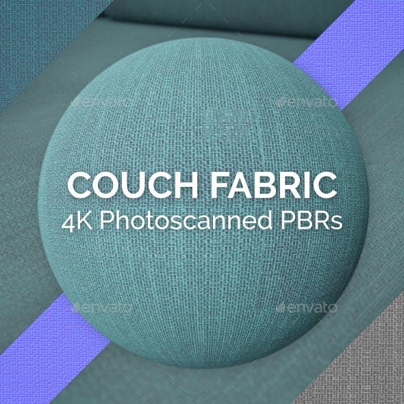 Blue Couch Fabric PBR - 3DOcean Item for Sale