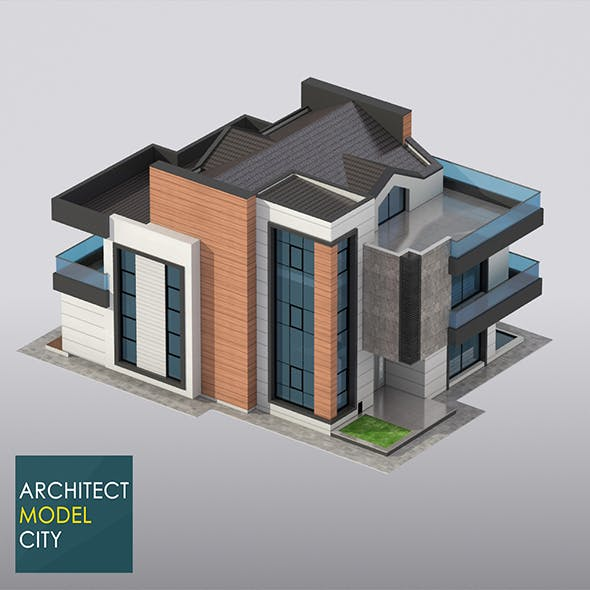 Architectural Home 3d Model - 3DOcean Item for Sale