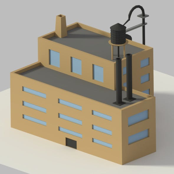 Low Poly Cartoon Refinery - 3DOcean Item for Sale