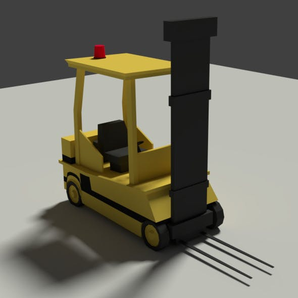 Low Poly Cartoon Forklift - 3DOcean Item for Sale