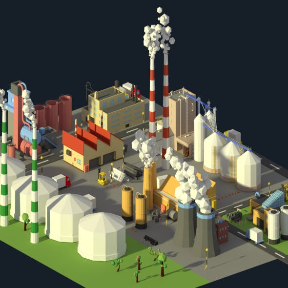 Low Poly Industrial Complex Pack
