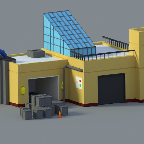 Low Poly Cartoon Factory - 3DOcean Item for Sale