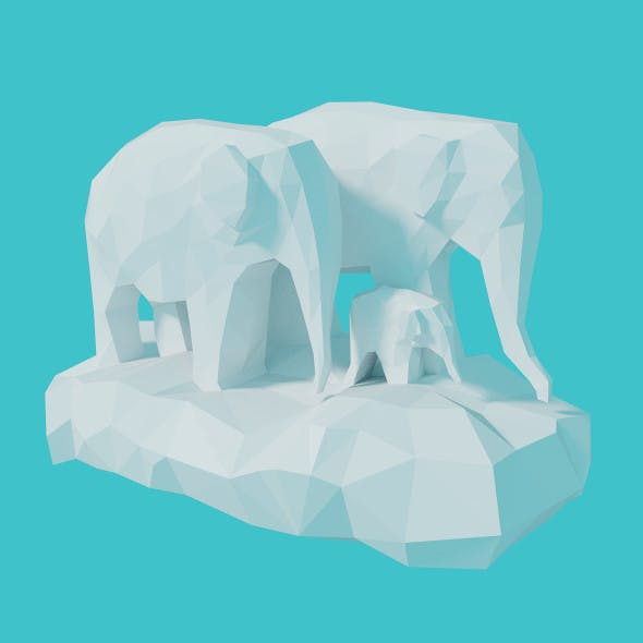 Low Poly Clouds - Elephants - 3DOcean Item for Sale