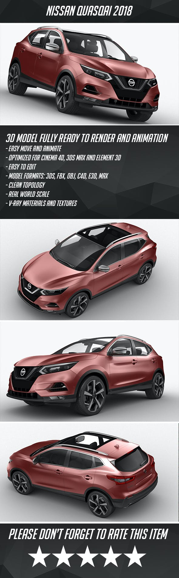 Nissan Qashqai 2018 - 3DOcean Item for Sale