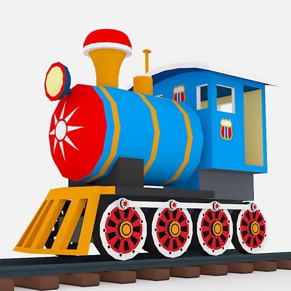 Steam Locomotive in Cartoon Style on Rails - 3DOcean Item for Sale