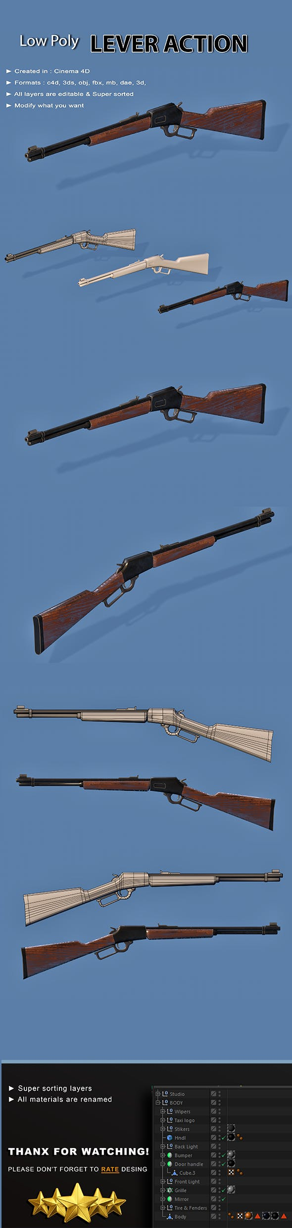 Lever Action Gun - 3DOcean Item for Sale