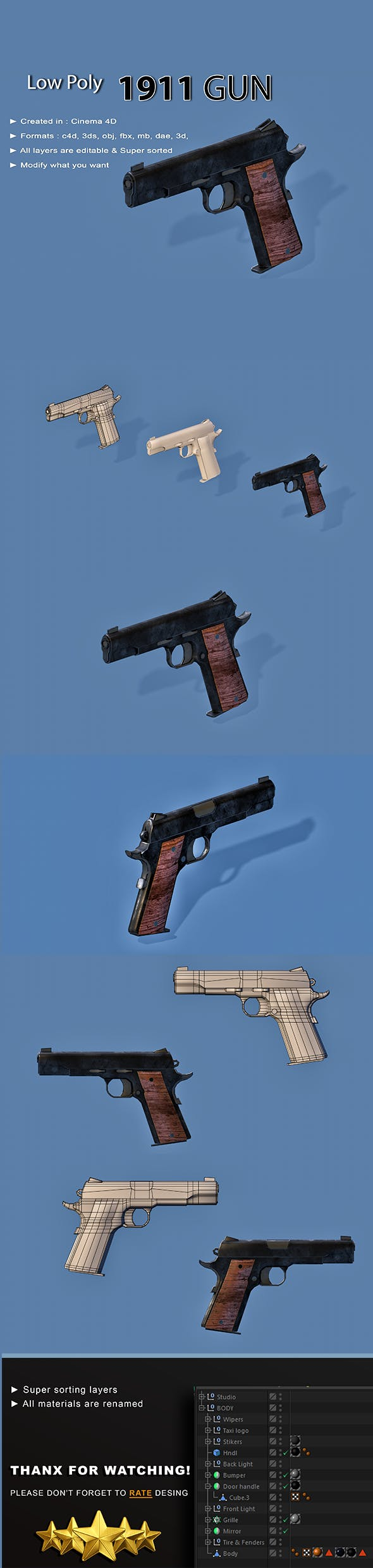 pistol - 3DOcean Item for Sale