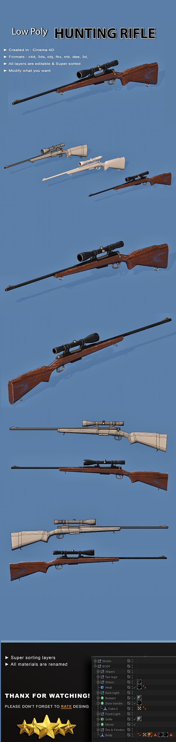 Hunting Rifle - 3DOcean Item for Sale