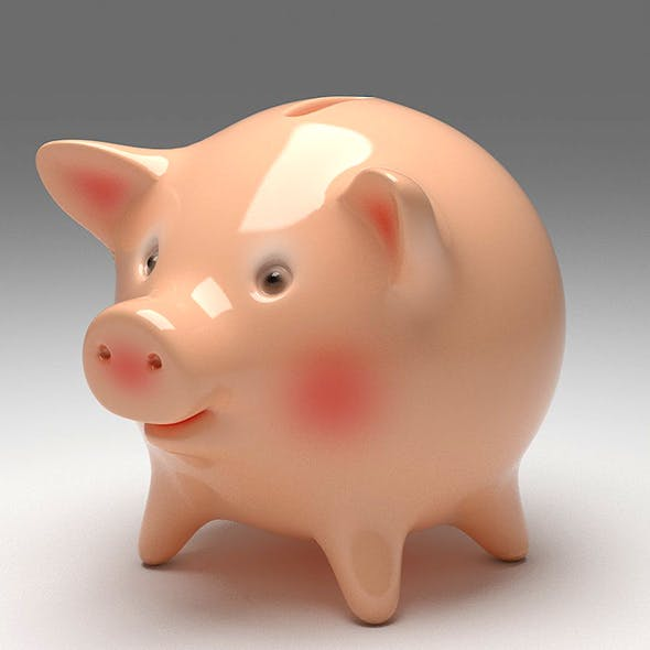 Moneybox Having Shape of a Cute Piglet. Piggy Bank - 3DOcean Item for Sale