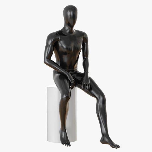 Faceless sitting male mannequin 22