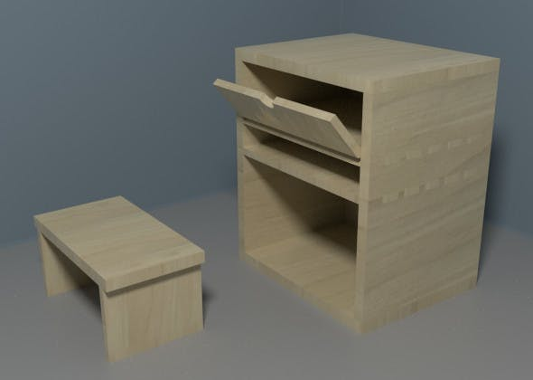 Nightstand with Bed Table - 3DOcean Item for Sale