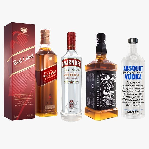 Alcohol Bottle Vodka Whisky Collection - 3DOcean Item for Sale