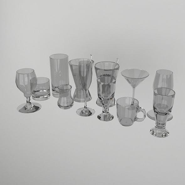Glass Set Model. 11 Pieces - 3DOcean Item for Sale