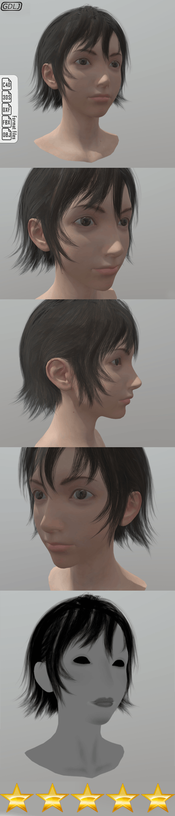 Iris Amicitia girl with full face and hair - 3DOcean Item for Sale