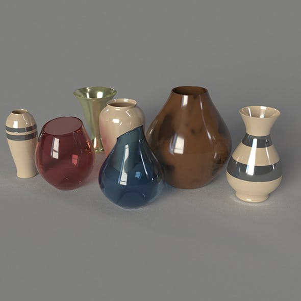 Vase Set 7 pieces. - 3DOcean Item for Sale