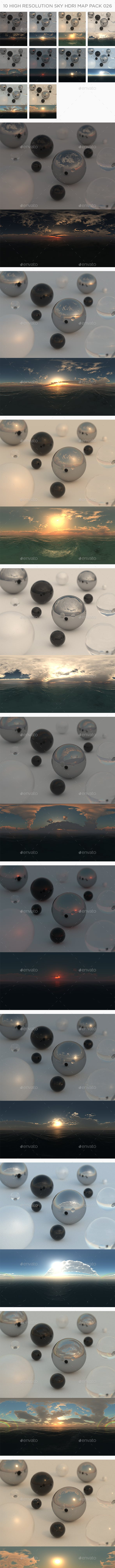10 High Resolution Sky HDRi Maps Pack 026 - 3DOcean Item for Sale