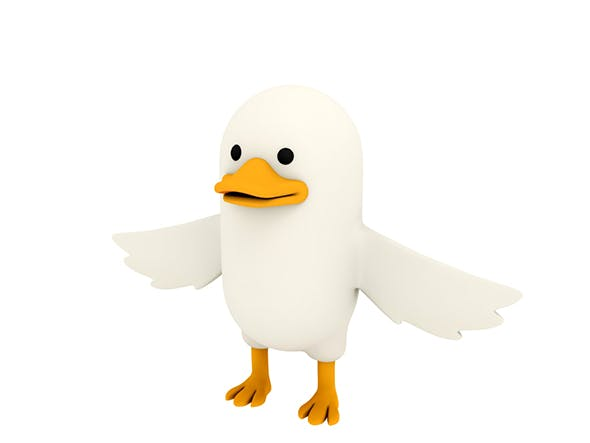 White Duck Character - 3DOcean Item for Sale
