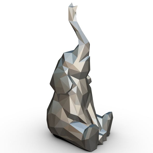 Elephant figure low poly 3