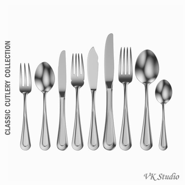Classic Cutlery Set 9 Pieces - 3DOcean Item for Sale