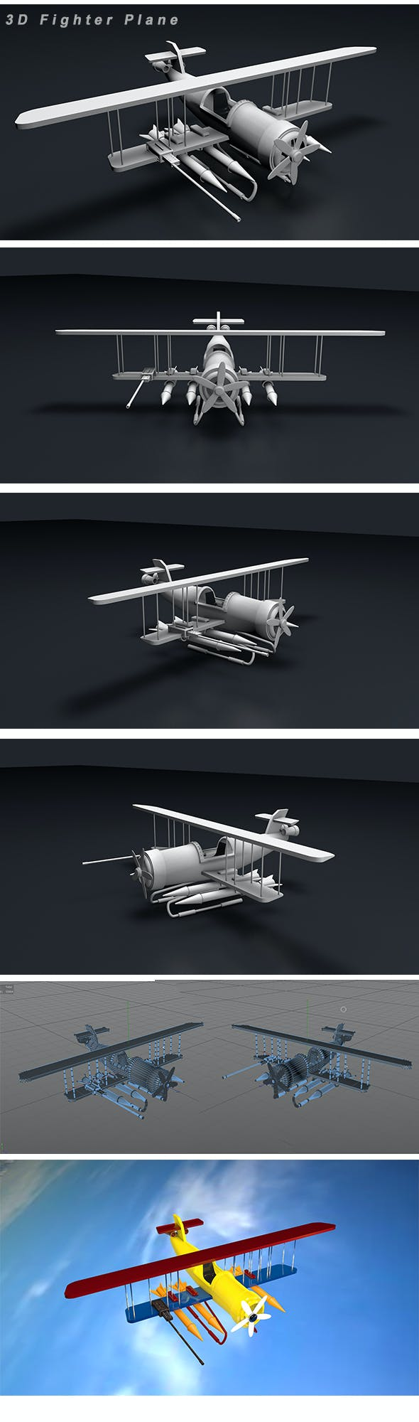 Fighter Plane 3d Modeling - 3DOcean Item for Sale