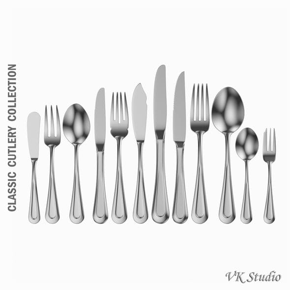 Classic Cutlery  Set 12 Pieces - 3DOcean Item for Sale