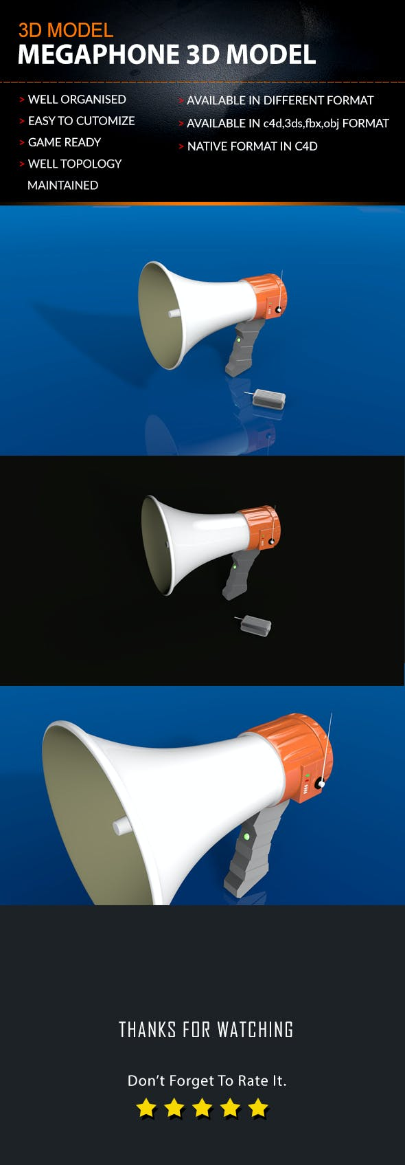 MEGAPHONE 3D MODEL - 3DOcean Item for Sale