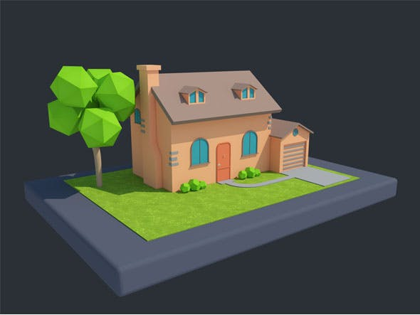 Low Poly Cartoon House 1 3D model - 3DOcean Item for Sale