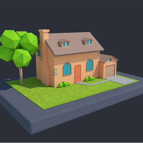 Low Poly Cartoon House 1 3D model
