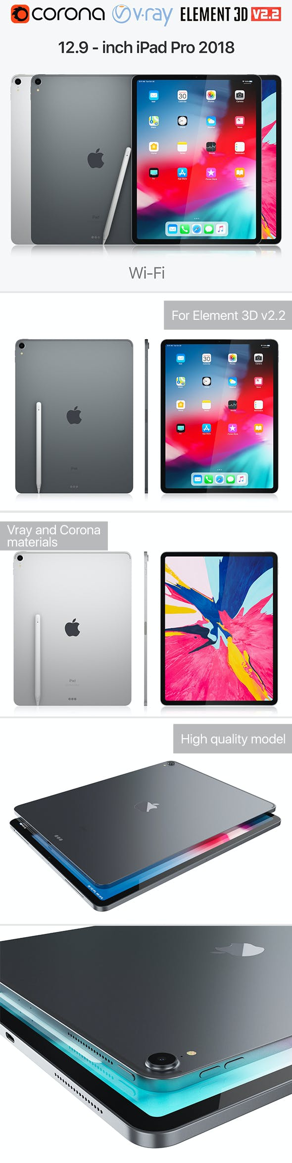 Apple iPad Pro 12.9 inch Wi-Fi 2018 and New Apple Pencil - 3DOcean Item for Sale
