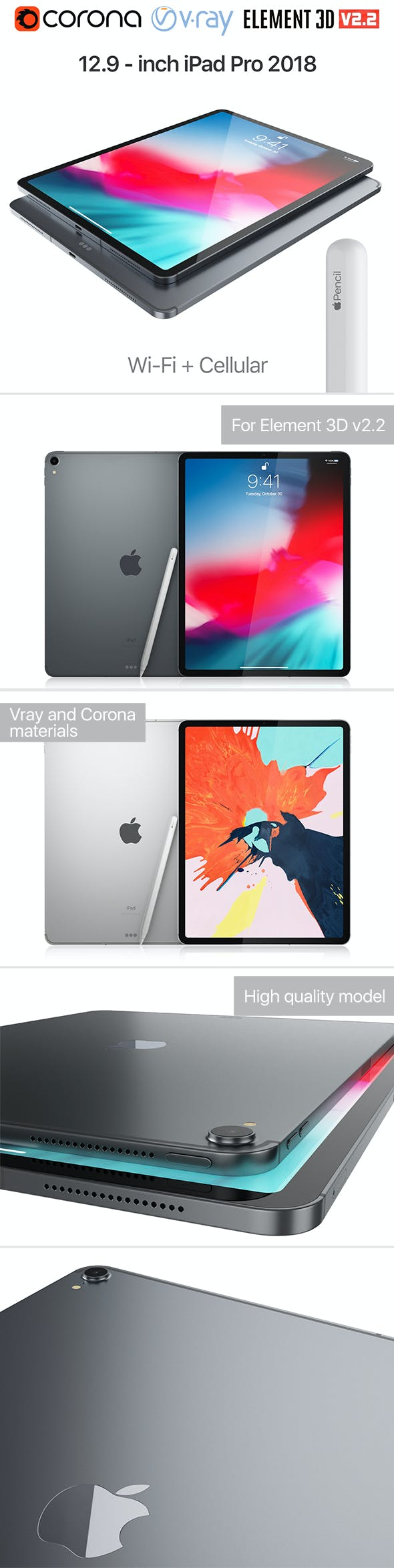 Apple iPad Pro 12.9 inch Wi-Fi + Cellular 2018 and New Apple Pencil - 3DOcean Item for Sale