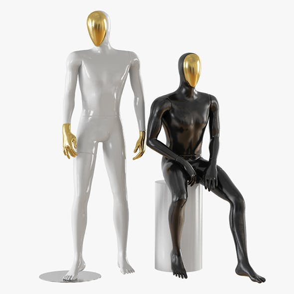 Abstract male mannequin gold face 23 - 3DOcean Item for Sale