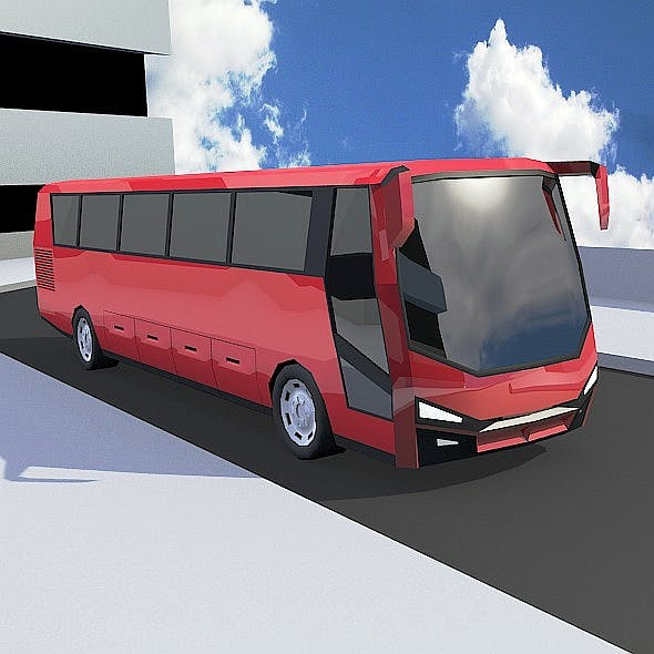 Lowpoly turistic bus vehicle concept