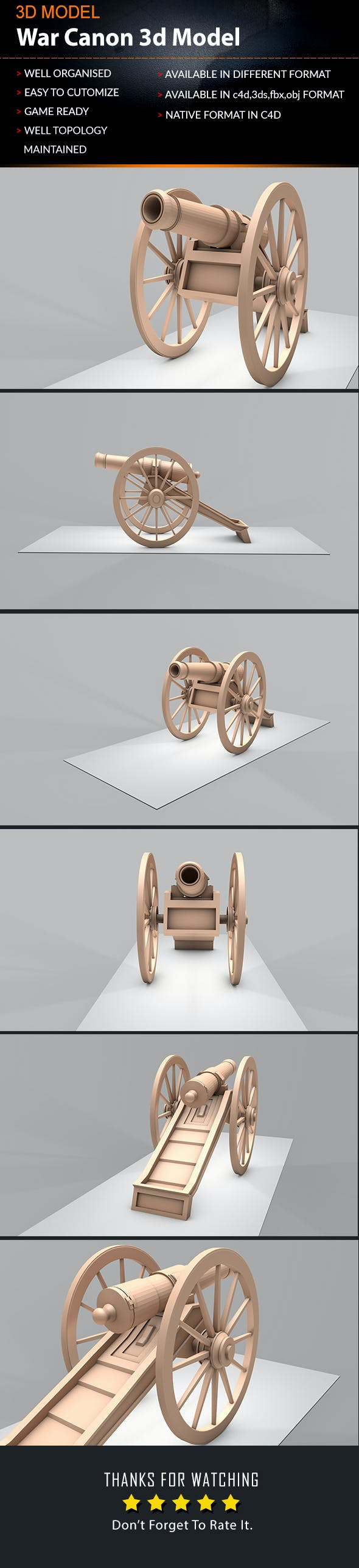 Old Artillery Cannon 3d Lowpoly Model - 3DOcean Item for Sale