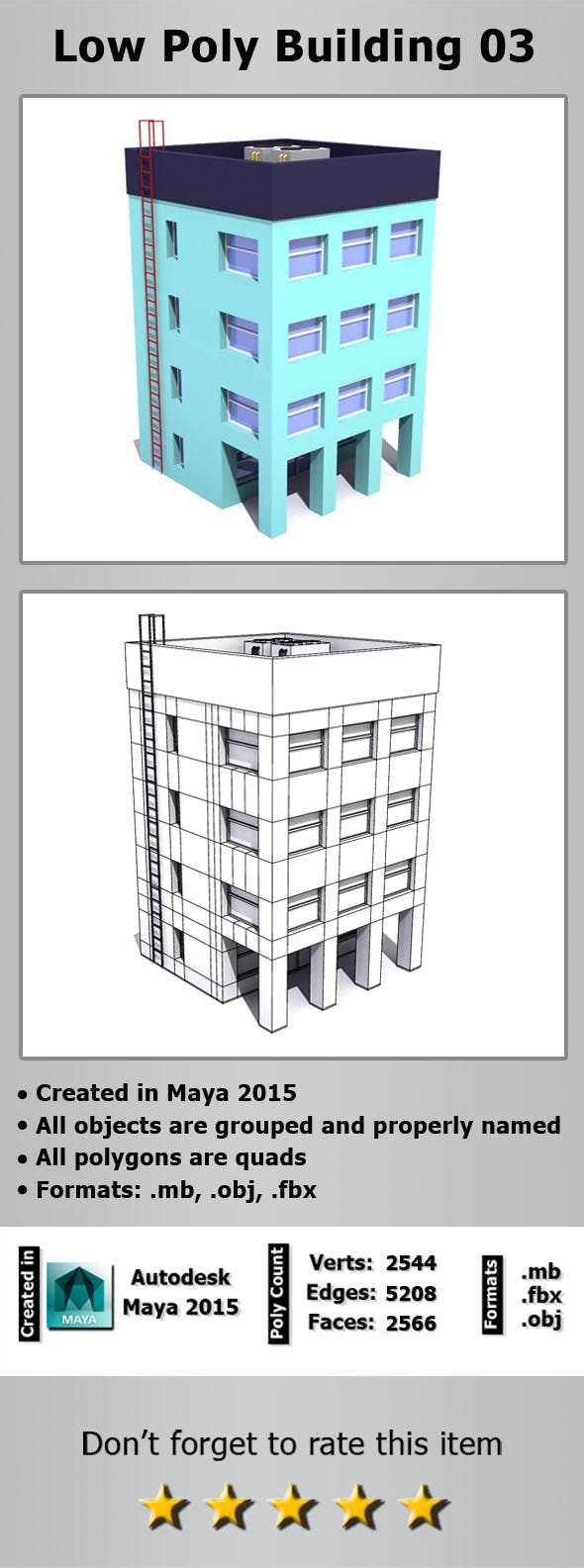 Low Poly Building 03 - 3DOcean Item for Sale