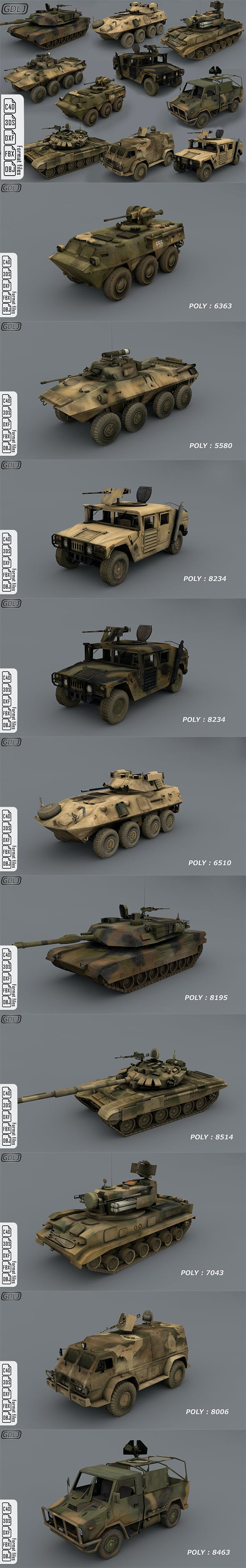 Army vehicles - 10 3d models Ready for games [ Low poly ] - 3DOcean Item for Sale