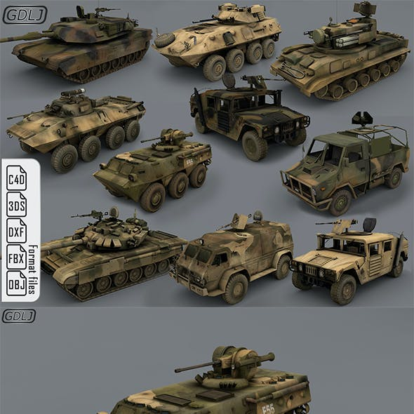 Army vehicles - 10 3d models Ready for games [ Low poly ]