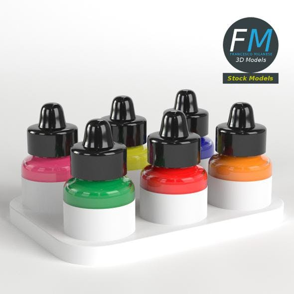 Acrylic Fluorescent Ink set - 3DOcean Item for Sale