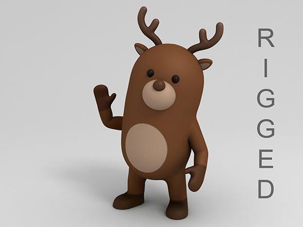 Rigged Cartoon Reindeer - 3DOcean Item for Sale