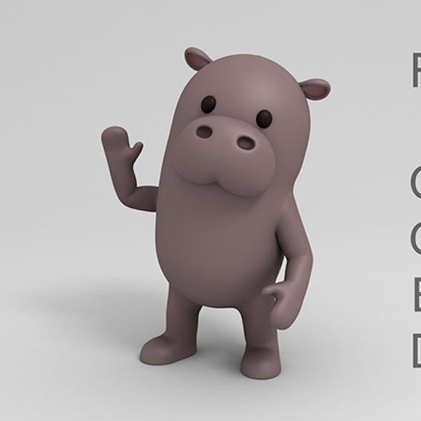 Rigged Cartoon Hippopotamus