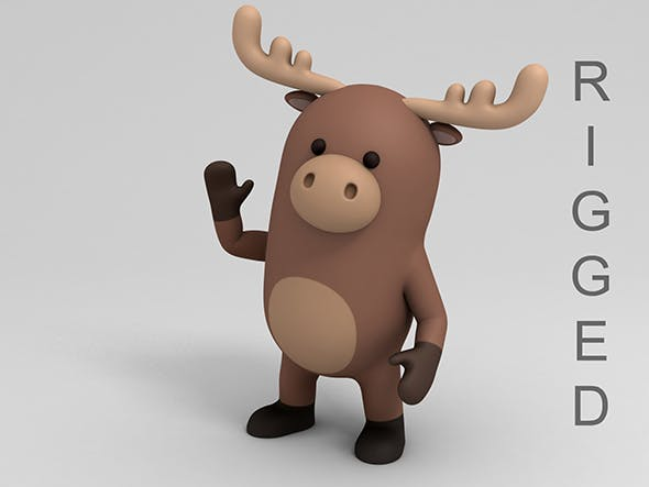 Rigged Cartoon Moose - 3DOcean Item for Sale