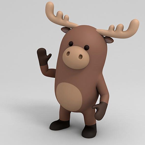 Rigged Cartoon Moose